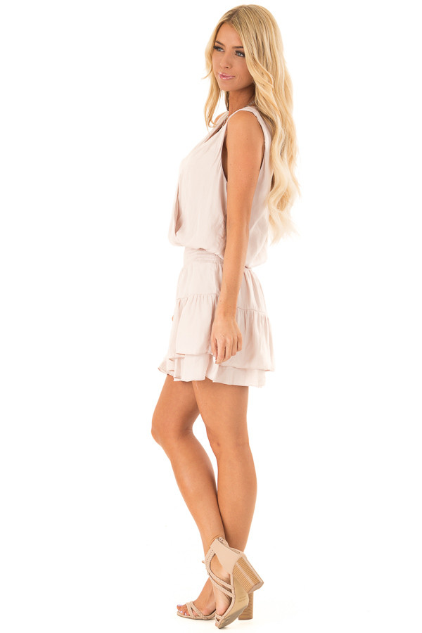 Eggshell Surplice Sleeveless Mini Dress with Smocked Waist side full body