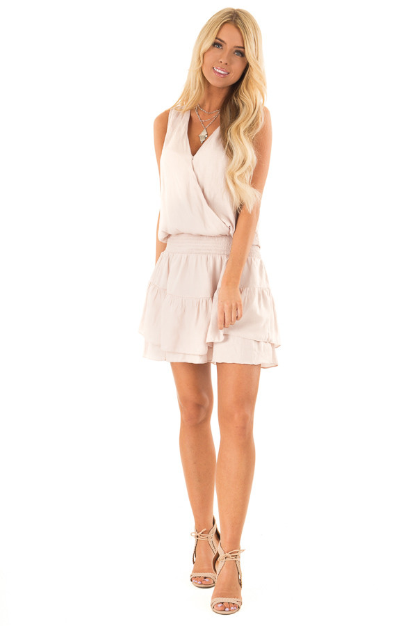 Eggshell Surplice Sleeveless Mini Dress with Smocked Waist front full body