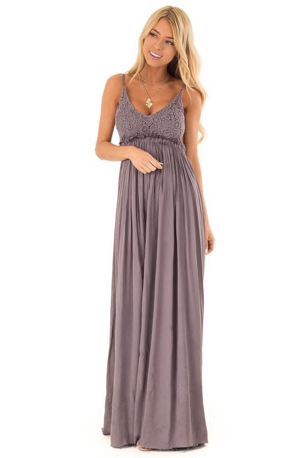 Ash Grey Backless Maxi Dress with Crochet Bodice Detail front full body