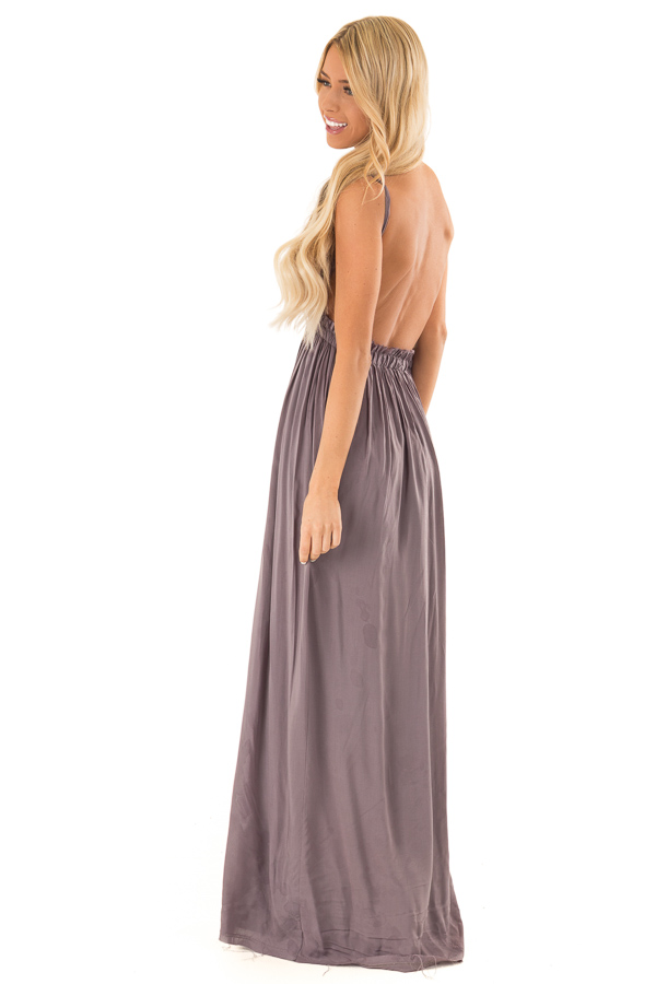 Ash Grey Backless Maxi Dress with Crochet Bodice Detail side full body