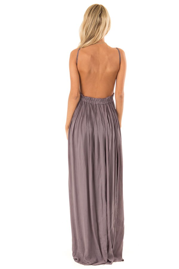 Ash Grey Backless Maxi Dress with Crochet Bodice Detail back full body