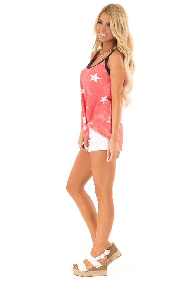 Faded Red Tank Top with Ivory Star Print and Twisted Hem side full body