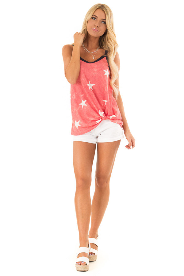 Faded Red Tank Top with Ivory Star Print and Twisted Hem front full body
