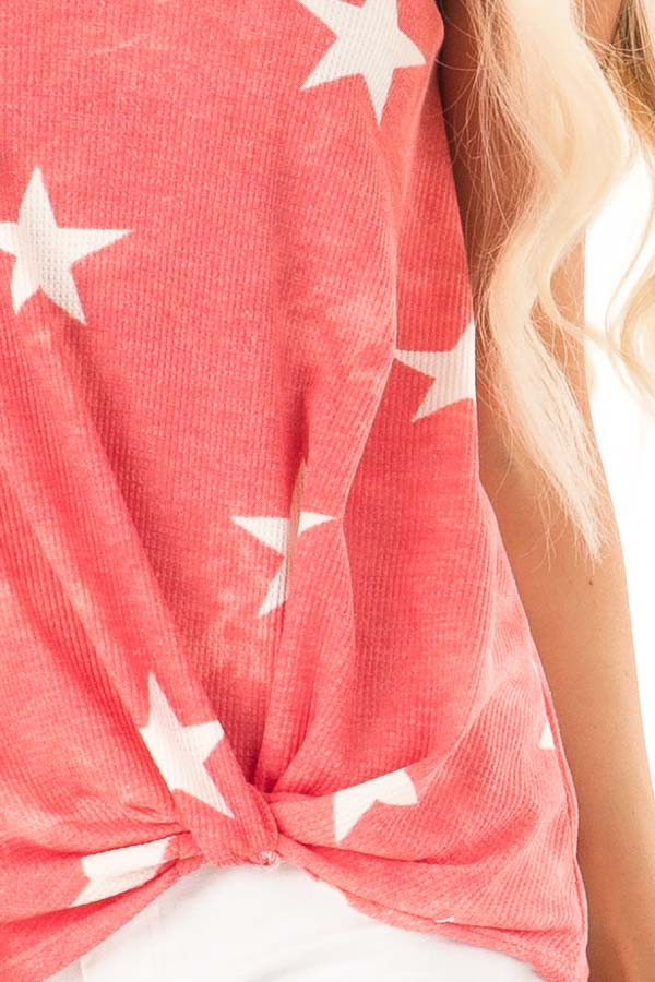 Faded Red Tank Top with Ivory Star Print and Twisted Hem detail