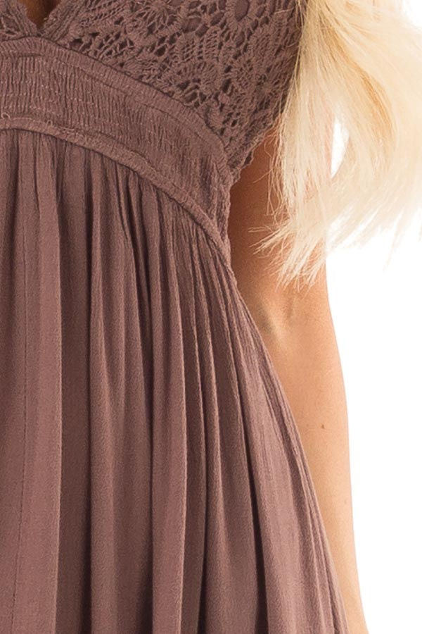 Chocolate Backless Halter Top Maxi Dress with Lace Details detail