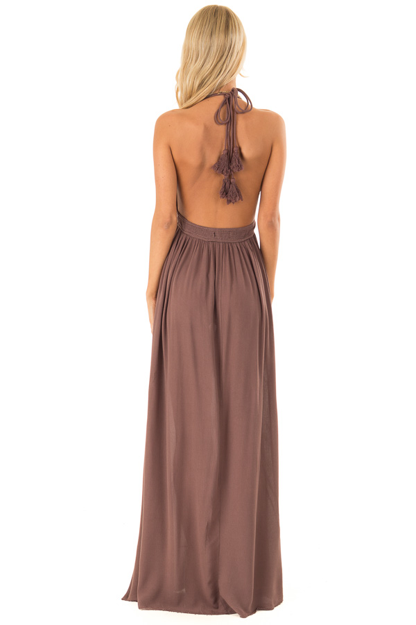 Chocolate Backless Halter Top Maxi Dress with Lace Details back full body
