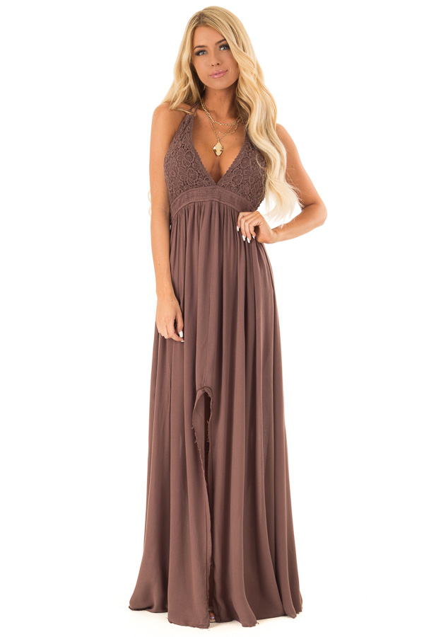 Chocolate Backless Halter Top Maxi Dress with Lace Details front full body