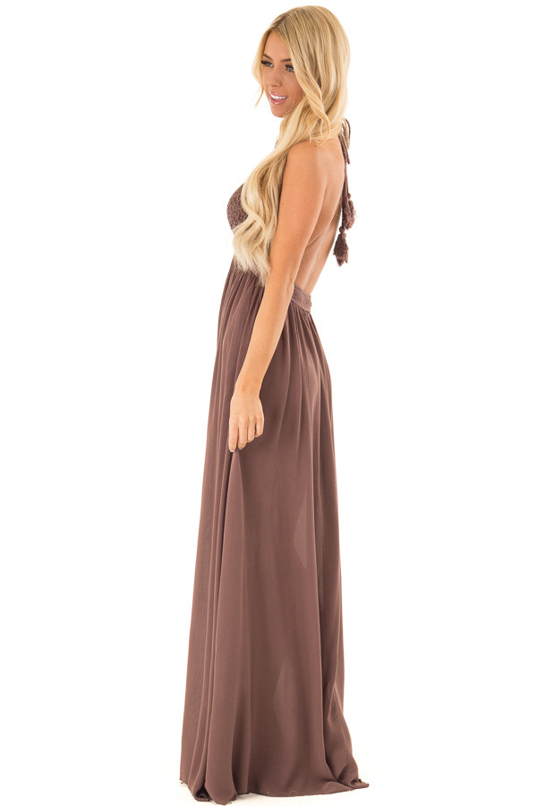 Chocolate Backless Halter Top Maxi Dress with Lace Details side full body