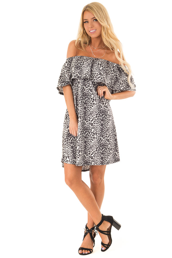 Charcoal Leopard Print Off the Shoulder Dress with Pockets front full body