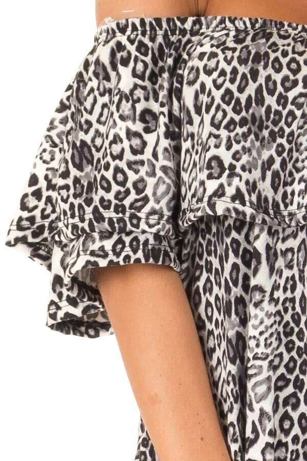 Charcoal Leopard Print Off the Shoulder Dress with Pockets detail
