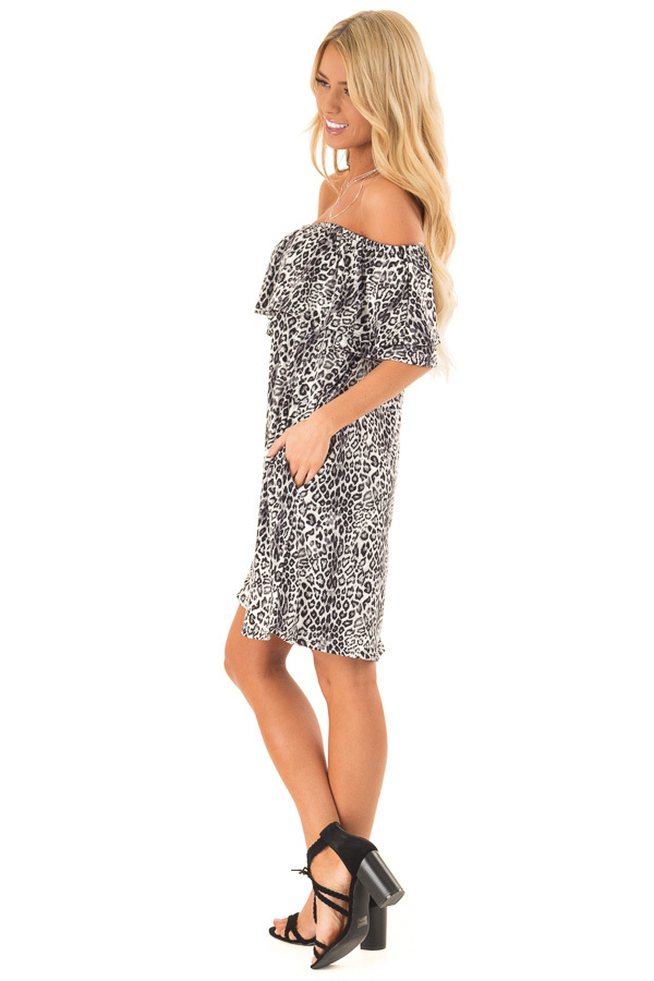 Charcoal Leopard Print Off the Shoulder Dress with Pockets side full body