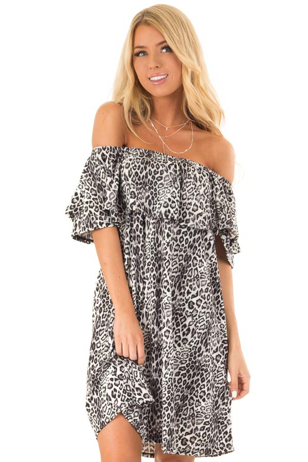 Charcoal Leopard Print Off the Shoulder Dress with Pockets front close up