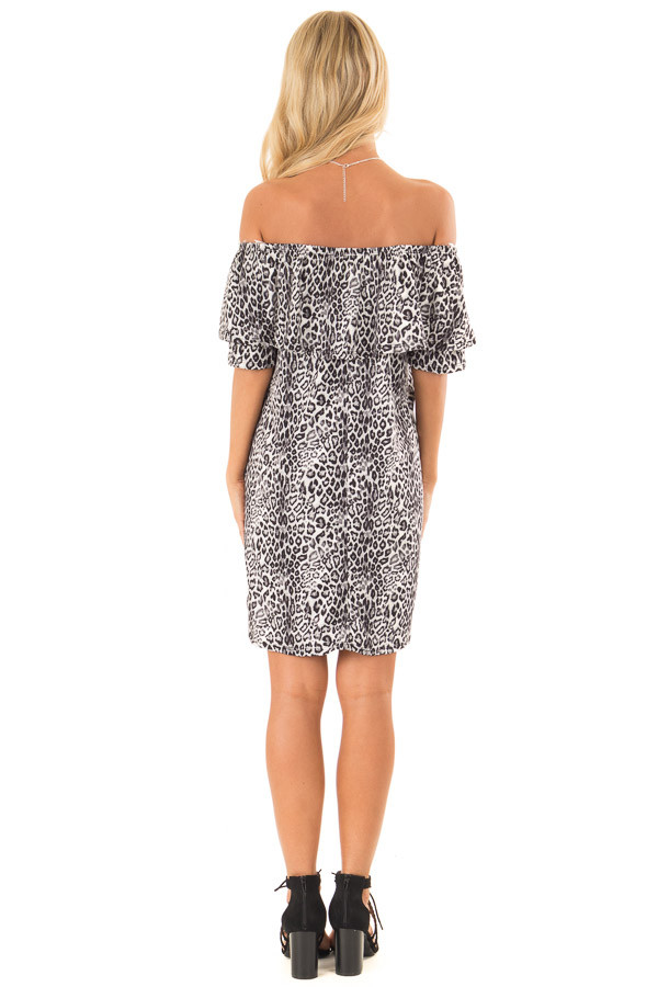 Charcoal Leopard Print Off the Shoulder Dress with Pockets back full body