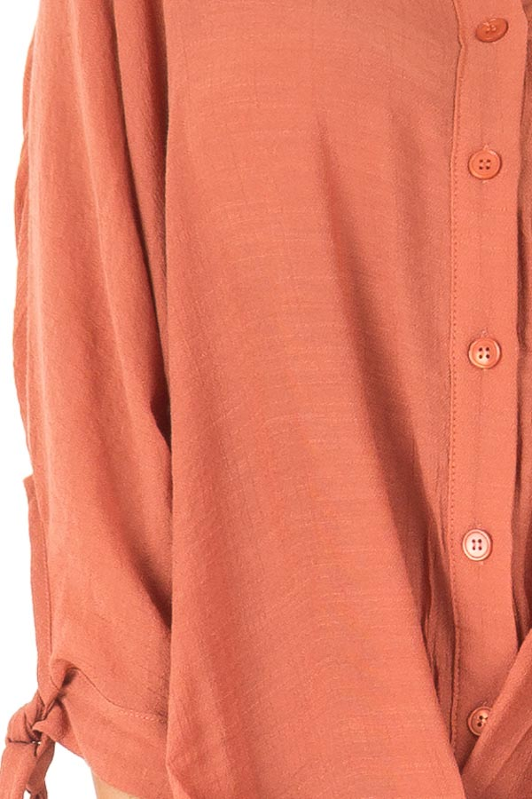 Burnt Orange Button Up 3/4 Sleeve Top with High Low Hemline detail