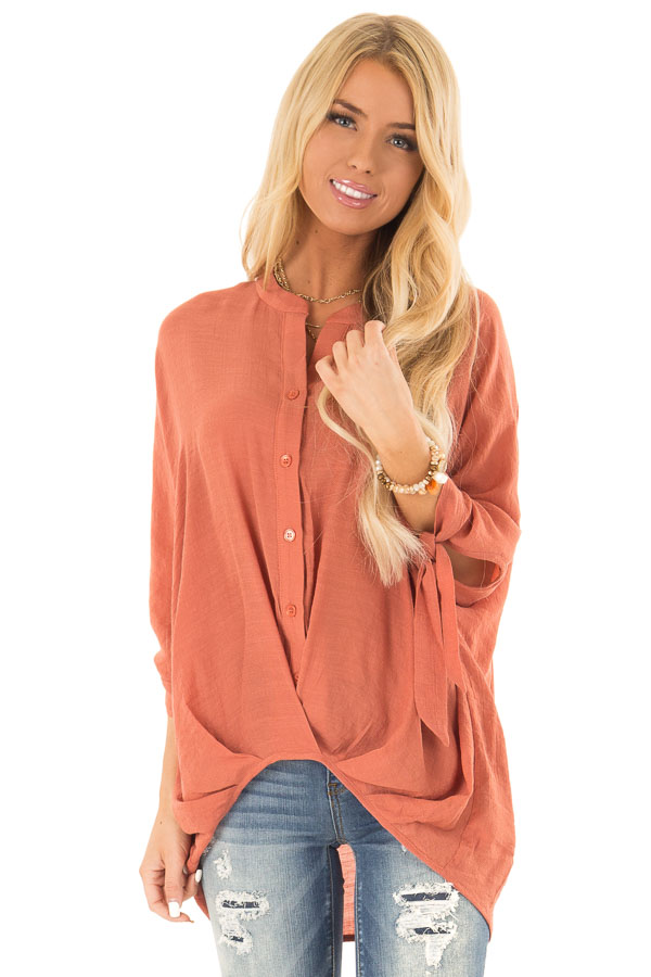 Burnt Orange Button Up 3/4 Sleeve Top with High Low Hemline front close up