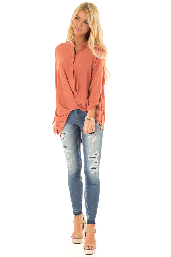 Burnt Orange Button Up 3/4 Sleeve Top with High Low Hemline front full body