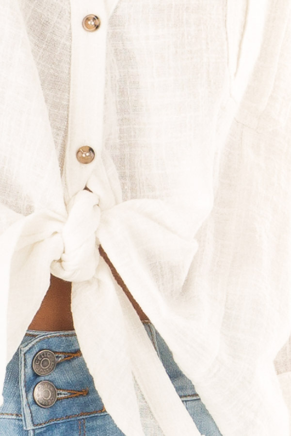 Daisy White Woven Button Up Top with Front Tie Detail detail