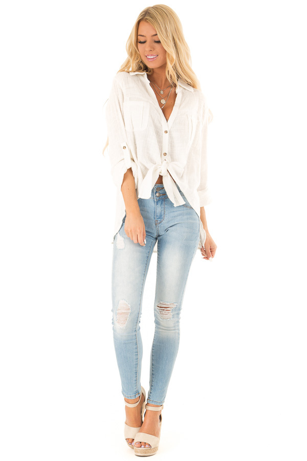 Daisy White Woven Button Up Top with Front Tie Detail front full body
