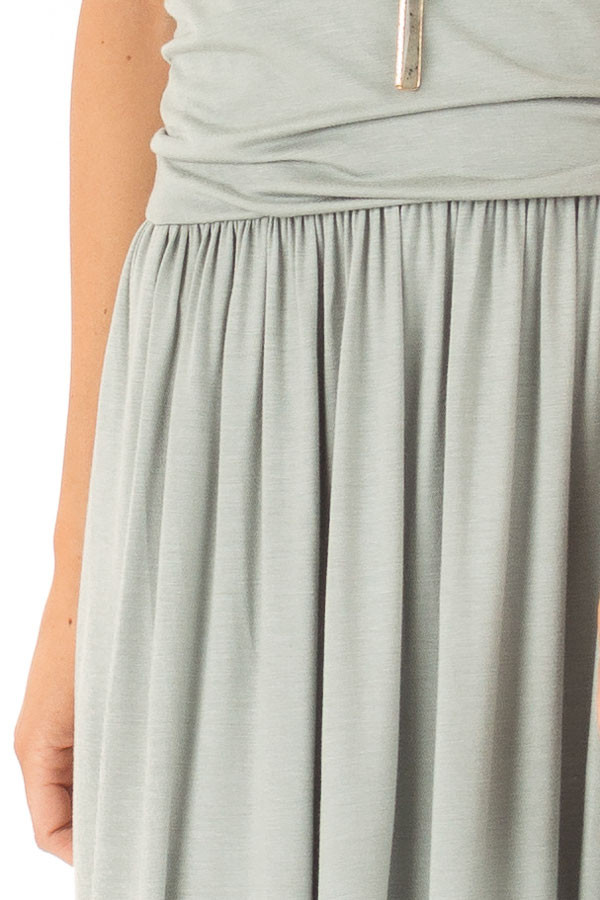 Sage Strapless Maxi Dress with Side Pockets detail