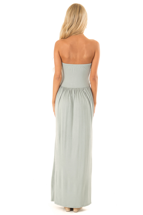Sage Strapless Maxi Dress with Side Pockets back full body