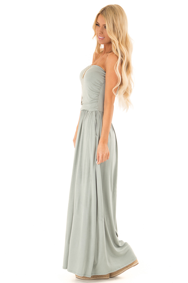 Sage Strapless Maxi Dress with Side Pockets side full body