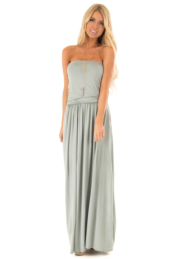 Sage Strapless Maxi Dress with Side Pockets front full body