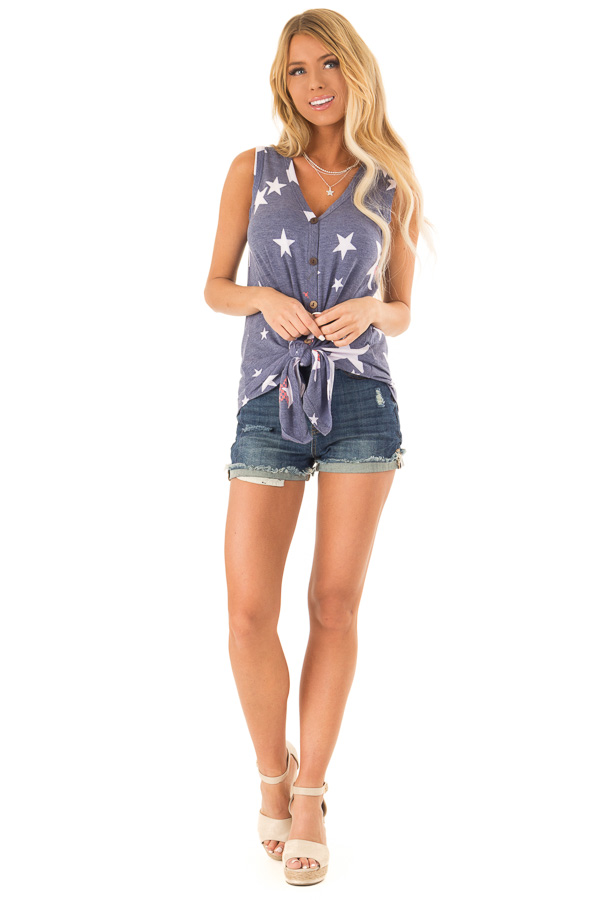 508ce39c Vintage Denim Patriotic Button Up Tank Top with Front Tie front full body