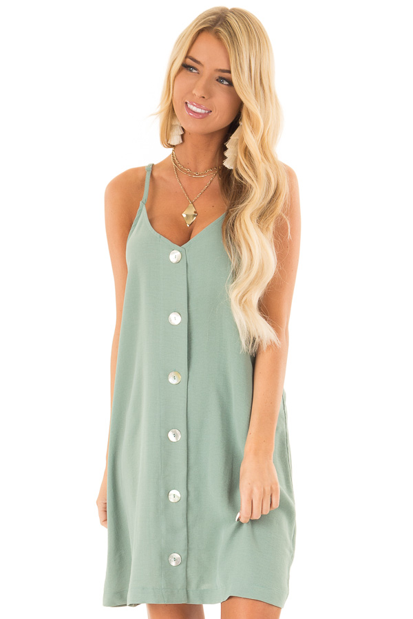 Pistachio Spaghetti Strap Mini Dress with Button Up Front front close up