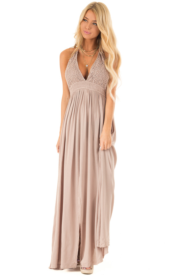 a262f89131 ... Latte Backless Halter Top Maxi Dress with Lace Details front full body  ...