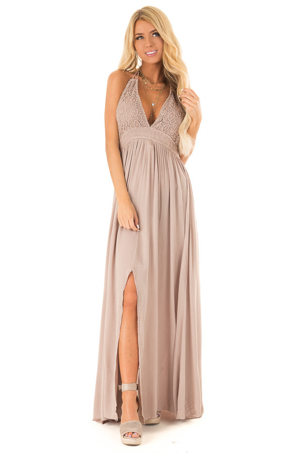 d6f18c6a639 ... Latte Backless Halter Top Maxi Dress with Lace Details front full body  ...