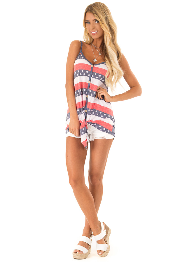 Navy Stars and Stripes Button Detail Tank with Front Tie front full body
