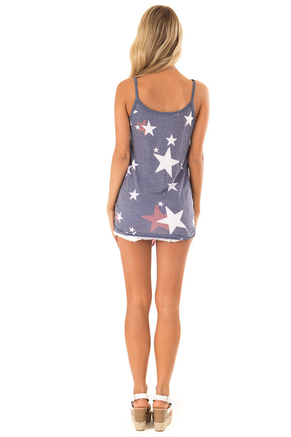 Navy Stars and Stripes Button Detail Tank with Front Tie back full body