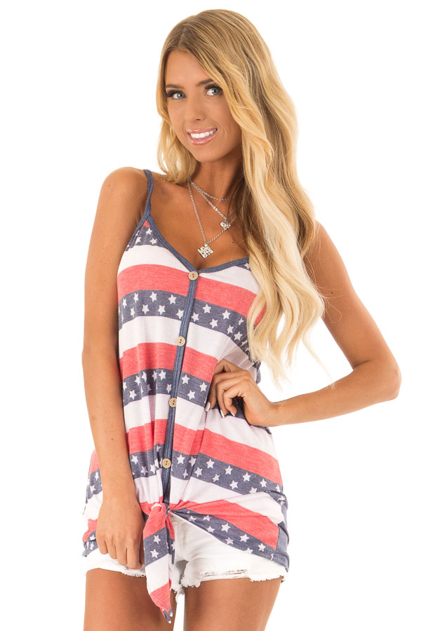 Navy Stars and Stripes Button Detail Tank with Front Tie front close