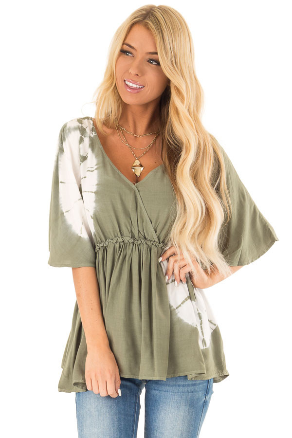 Dark Avocado Green Top with White Tie Dye Detail front close up