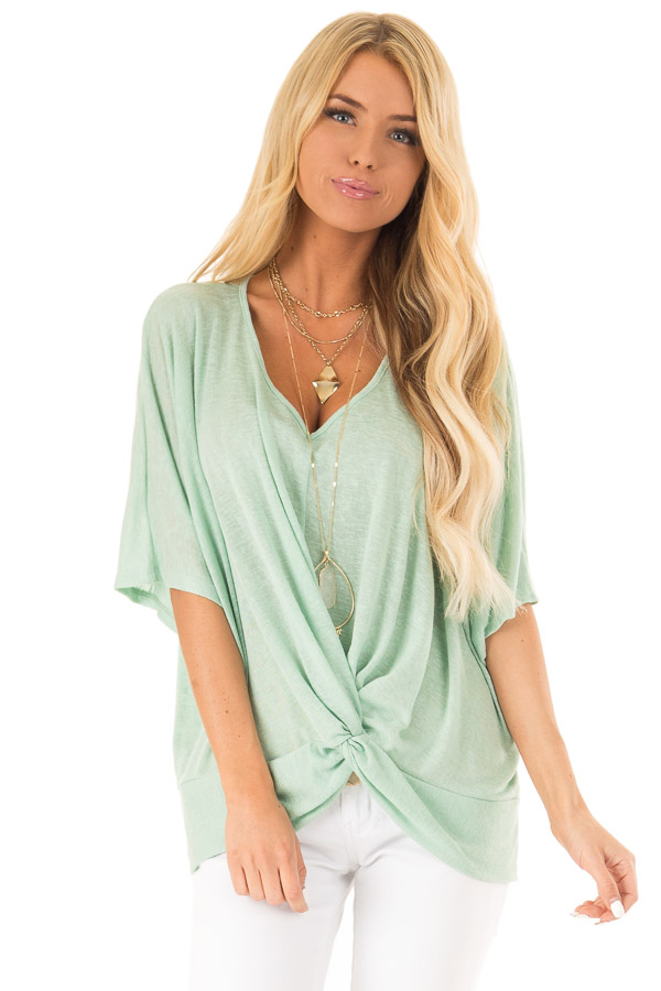 Mint Flowy Top with V Neckline and Front Twist front close up