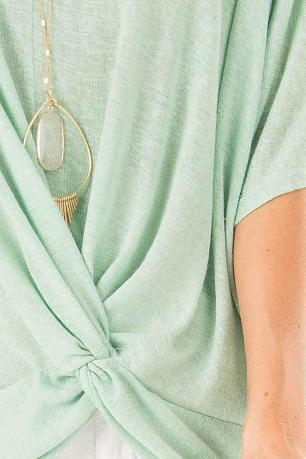 Mint Flowy Top with V Neckline and Front Twist detail