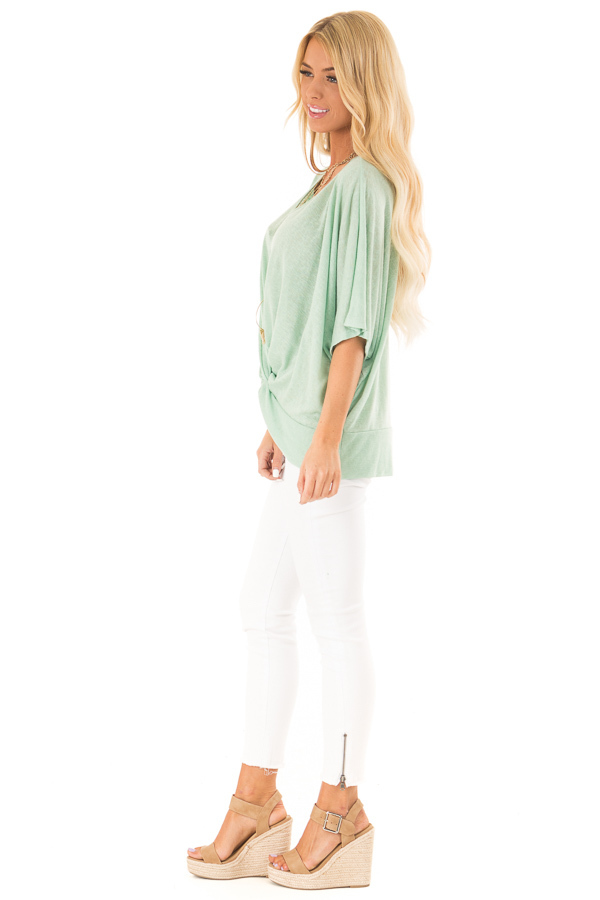 Mint Flowy Top with V Neckline and Front Twist side full body