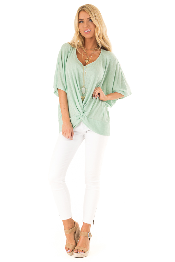 Mint Flowy Top with V Neckline and Front Twist front full body