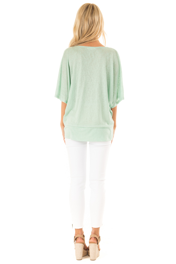 Mint Flowy Top with V Neckline and Front Twist back full body