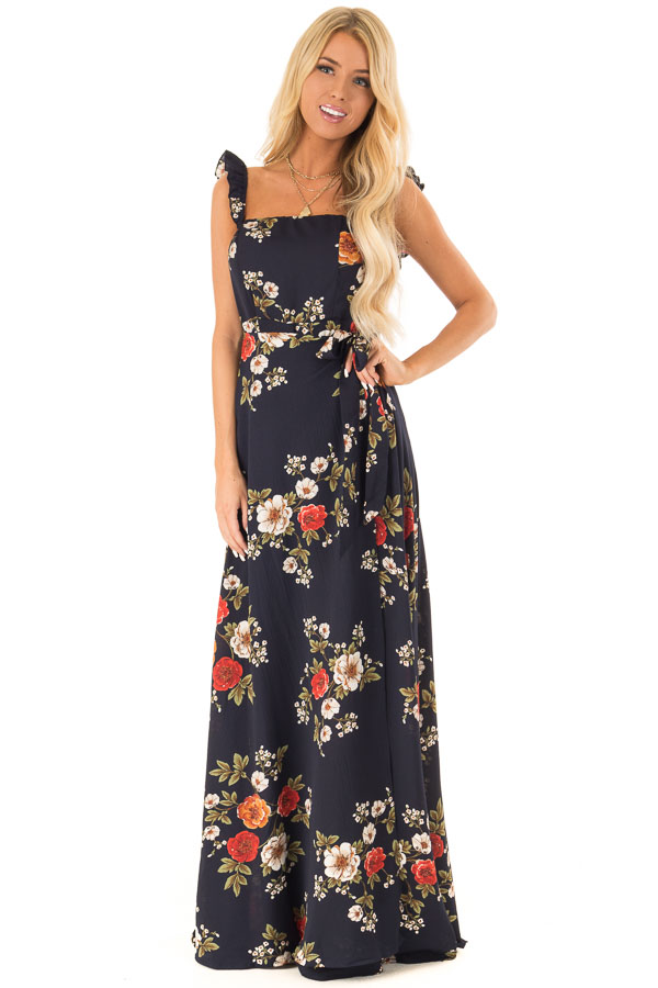 Navy Floral Print Maxi Dress with Side Tie and Ruffle Straps front full body