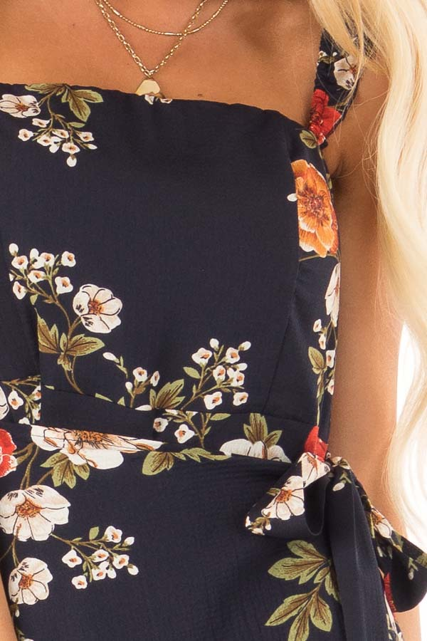 Navy Floral Print Maxi Dress with Side Tie and Ruffle Straps detail