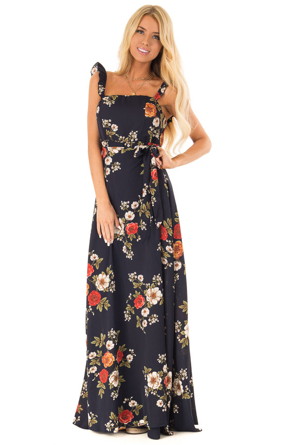 5529ef0a574 ... Navy Floral Print Maxi Dress with Side Tie and Ruffle Straps front full  body ...