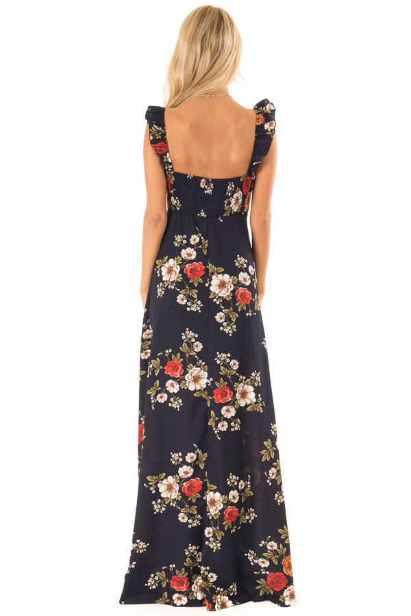 Navy Floral Print Maxi Dress with Side Tie and Ruffle Straps back full body