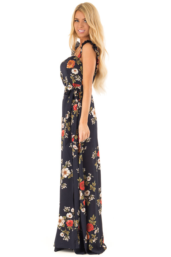 Navy Floral Print Maxi Dress with Side Tie and Ruffle Straps side full body