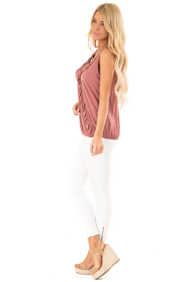 Marsala Tank with Ruffle Trim and Elastic Hem side full body