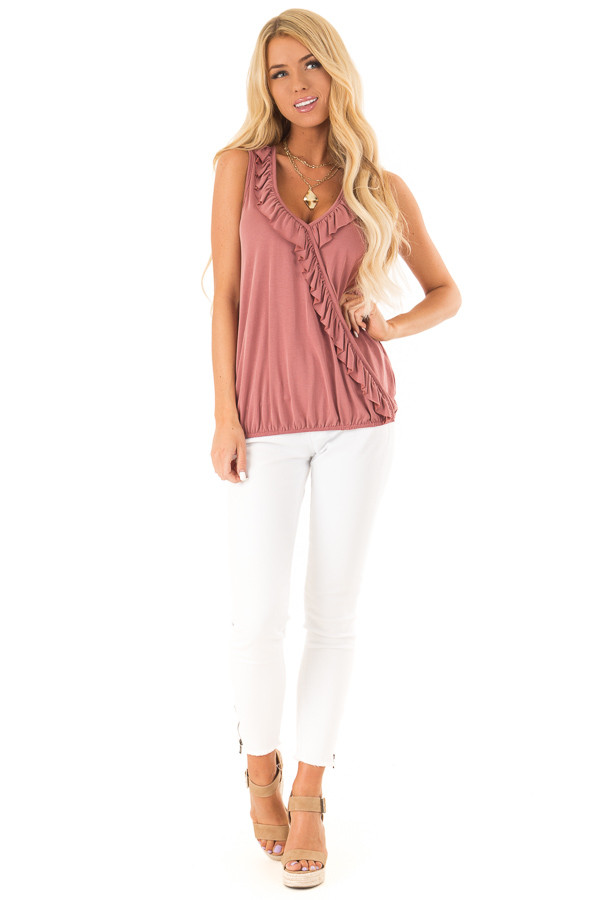 Marsala Tank with Ruffle Trim and Elastic Hem front full body