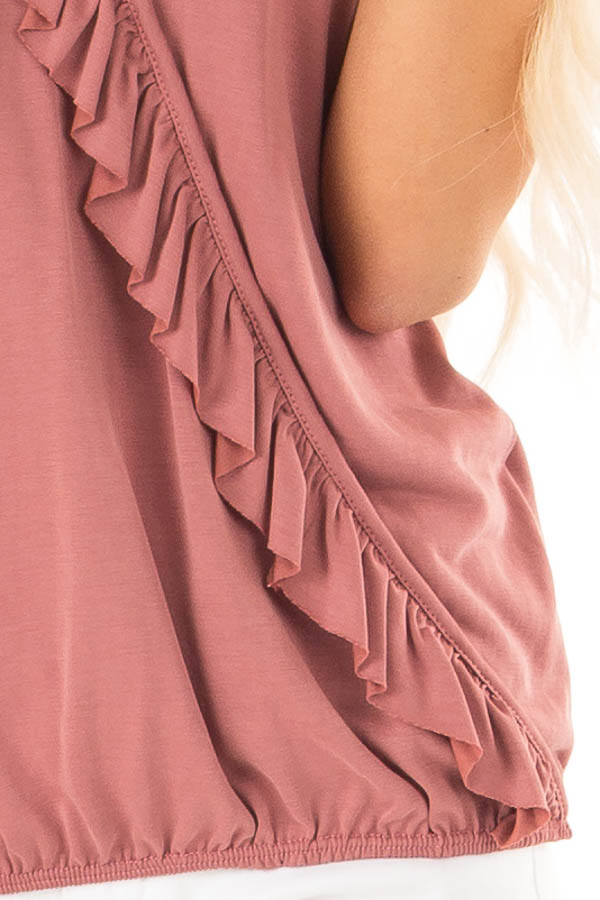Marsala Tank with Ruffle Trim and Elastic Hem detail