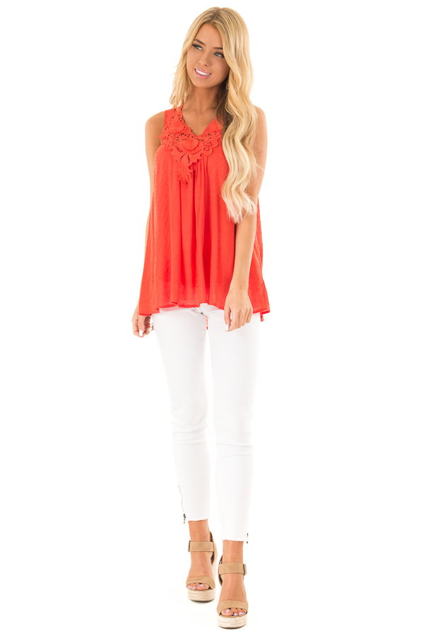 Scarlet Swiss Dot V Neck Tank Top with Floral Lace Detail front full body