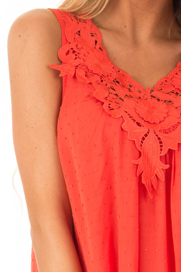 Scarlet Swiss Dot V Neck Tank Top with Floral Lace Detail detail