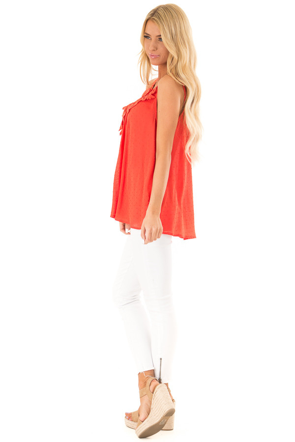 Scarlet Swiss Dot V Neck Tank Top with Floral Lace Detail side full body